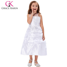 Grace Karin See through yarns around neck Sleeveless white long wedding party girl dress CL4492