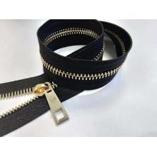 Qualidade Premium Light Gold European Teeth Brass Zipper