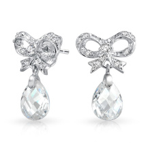 CZ Ribbon Bow Silver Dangling Earrings Jewelry with Faceted Teardrop
