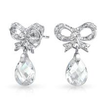 CZ Ribbon Bow Silver Dangling Earrings Jewelry с граненной слезой