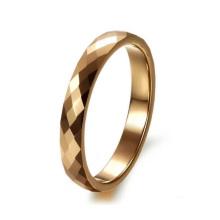 Anillo de tungsteno de dedo de chapado en oro de moda pulido, compromiso superior