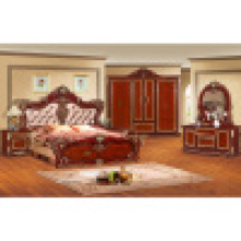 Mobilier de chambre classique avec lit king / chambre à coucher (W802)