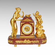 Uhr Statue Dame Engel Bell Bronze Skulptur Tpc-020j