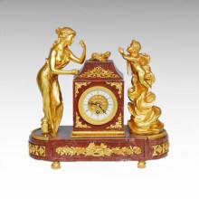 Reloj Estatua Señora Angel Bell Bronce Escultura Tpc-020j