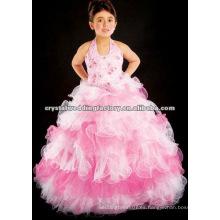¡Envío libre caliente !! el halter embriodered el vestido backless de la muchacha de flor del vestido de bola del desfile de las volantes CWFaf4391