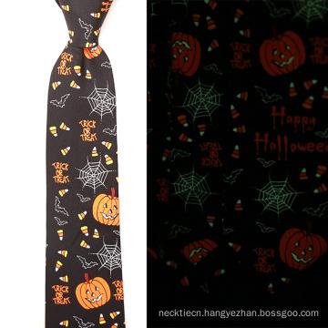 Mens Custom Halloween Silk Print Glow in the Dark Tie
