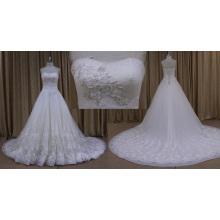 Vestido de novia princesa rebordear encaje con cordones una línea