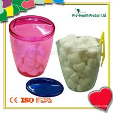 Balão de algodão esterilizado médico com dispensador de plástico