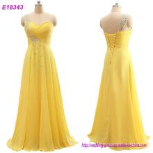 Moda roupas atacado romântico vestido de noite um ombro vestidos amarelo vestido vestido formal