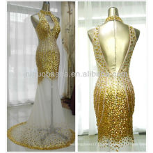 Imagem real 2014 Luxo Brilhante Ouro Mermaid Vestido de noiva Alto Pescoço Oco Colpus Backless Heavy Crystal Evening Dress NB062