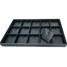 Classic Leatherette Black Jewellery Holder Tray Divided in 15 Sections