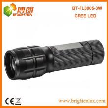 Fábrica Venta al por mayor CE ROHS Material de aluminio negro 3w cree cabeza zoom ajustable Zoom Led linterna antorcha Made in China