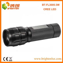 Factory Vente CE OEM Disponible Taille de poche Aluminium Beam réglable haute puissance Cree led lampe de poche 3w