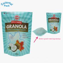 2018 fabrik versorgung benutzerdefinierte gedruckt ziplock hafermehl granola getreide verpackungsbeutel standbeutel lebensmittelqualität