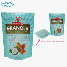 2018 Factory supply custom printed ziplock oatmeal granola cereal packaging bag stand up pouch food grade