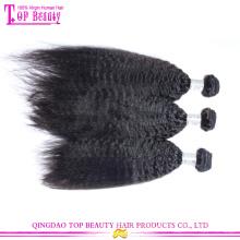 Venda direta da fábrica Qingdao top qualtiy extensão do cabelo humano virgem mongol kinky cabelo liso