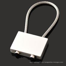 Promoção retângulo liga de zinco chave titular com corda de fio (f1344)