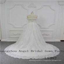 с плеча бисером кружева свадебное платье