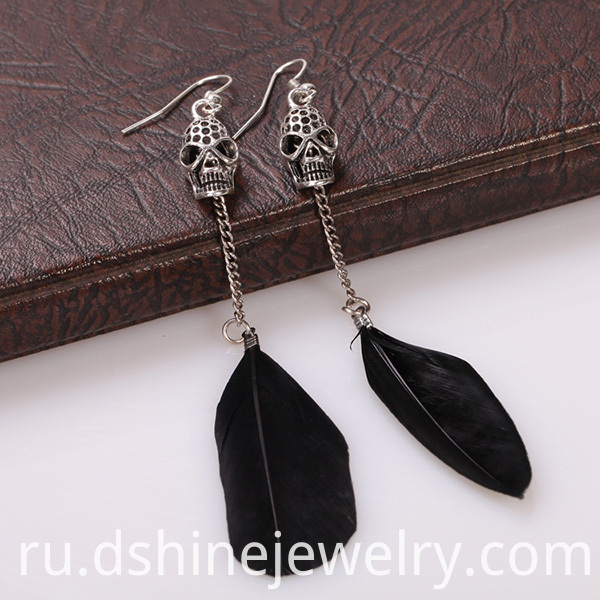 Skull Charm Feather Earrings