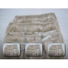 remy virgin Indian hair clip en extensiones de cabello para mujeres blancas