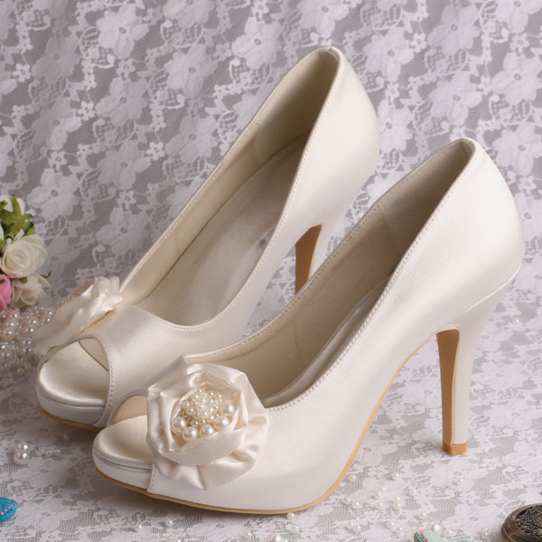 Satin Rose Flower Shoes for Wedding Bride. Please upgrade to full version  of Magic Zoom 48454063a35f