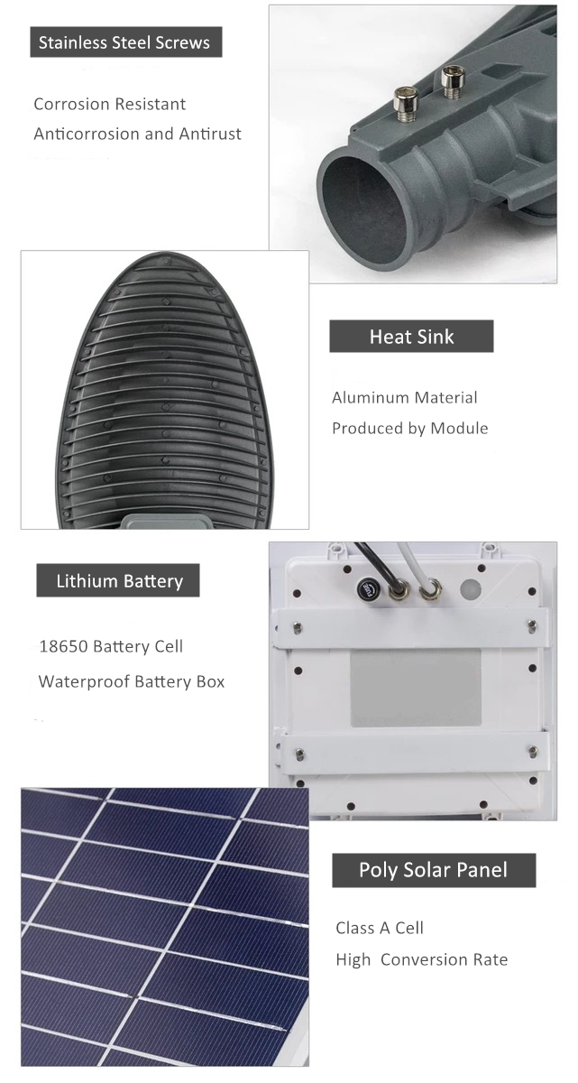 solar outdoor street light parts