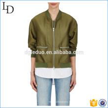 Утолщаются горячая распродажа шелк бомбардировщик куртка женщин 2017 зимний европейский дизайн пиджака