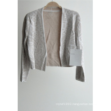 Long Sleeve Open Front Patterned Knit Ladies Cardigan