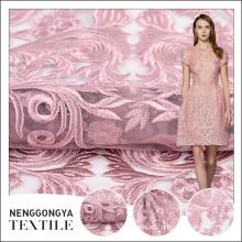Tela hecha punto de alta calidad del bordado de la espuma del rosa de la malla del OEM para casarse