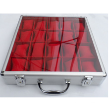 Boîte de montre en aluminium avec couvercle supérieur transparent