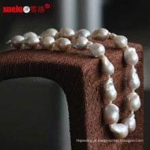 Moda de alta qualidade grande nucleated barroco jóias colar de pérolas naturais (e130086)
