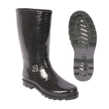 Black Men Rain Rubber Boot with Crocodile Print