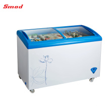 Commercial Glass Cover Ice Cream Display Chest Freezer