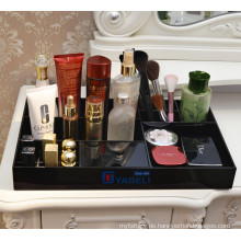 Schwarzes Acryl Kosmetikspeicher Display Tray Divided Organizer