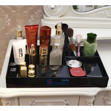 Schwarzes Acryl Kosmetikspeicher Display Tray Divided Organizer