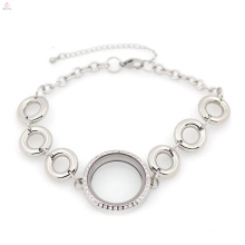 Lovely stainless steel silver circle of life locket bracelet bangle