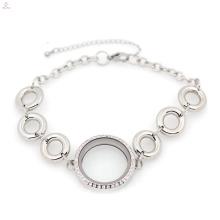 Lindo círculo de prata de aço inoxidável da vida pulseira pulseira medalhão