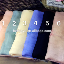 Funckly hot whosale 50 wool 50 silk muslim rinestone hijab pearl floral scarf