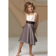 A-line cinghie larghe ginocchio fiocco in raso cintura Flower Girl Dress