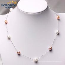 Смешанный цвет 7-8мм AAA 925 Серебряный ожерелье из перламутровой жемчужины
