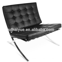 Barcelona chair style comfortable lounge chair in black PU