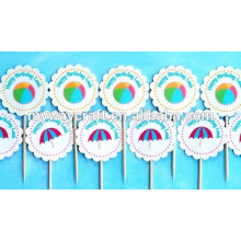 2015 Wholesale blue beach party cupcake toppers/paper cupcake stands