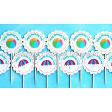 2015 Atacado blue beach party cupcake toppers / papel cupcake stands