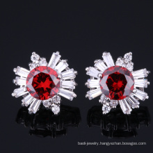 Wholesale round zirconia earring stud latest design jewelry for girls