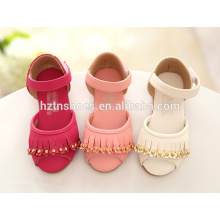 Summer flat sandals for girls with tassel and velcro strap girls wholesale sandals