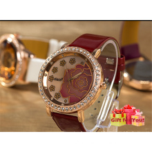 Moda Graceful Rose Patrón Cristal Exquisita Reloj Cestbella Regalos Especiales Lady 's Watch