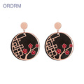 Rose Gold Black Round Gullig Flower Dangle Earrings