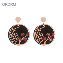 Rose Gold Black Round Cute Bunga Dangle Bunga