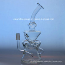 High Quality Clear Glass Water Pipe Recycler Oil Rig with 14.5mm Joint
