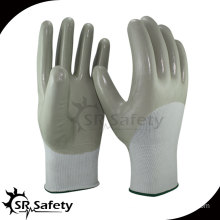SRSAFETY 13 gauge knitted nylon 3/4 coated grey nitrile gloves/oil-resistant working gloves anti sliding gloves